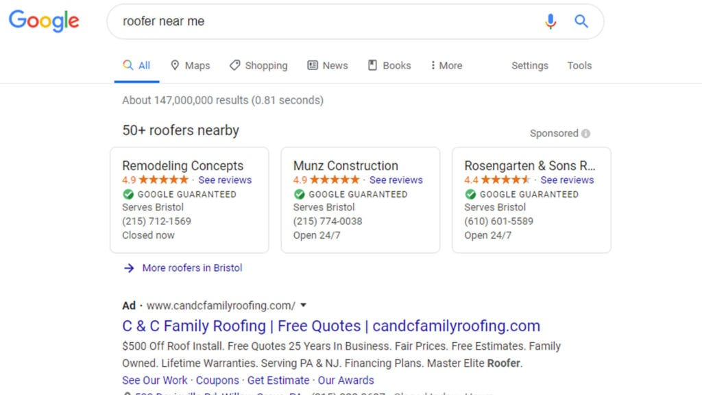 google local service ads screenshot