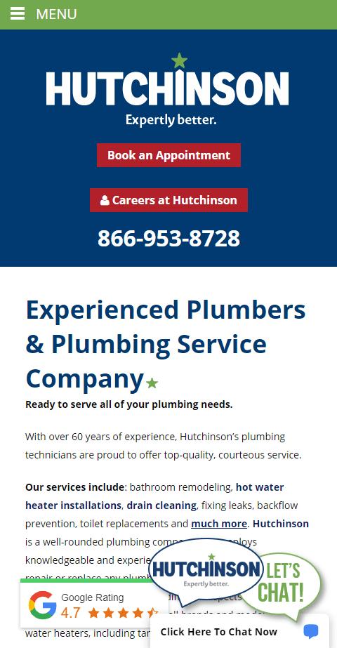 plumbing website mobile screenshot