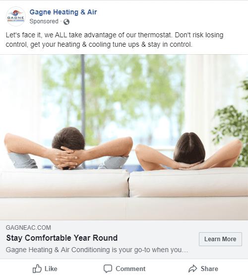 social media hvac company ad